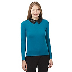Principles Petite by Ben de Lisi - Turquoise embellished collar jumper