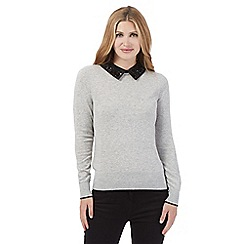 Principles by Ben de Lisi - Grey embellished collar jumper
