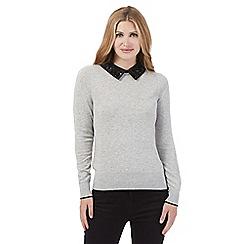 Principles by Ben de Lisi - Grey embellished collar jumper