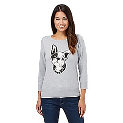 Principles by Ben de Lisi - Grey French bulldog knitted jumper