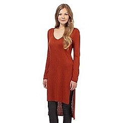 Principles by Ben de Lisi - Orange ribbed V neck tunic