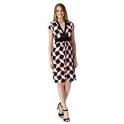 Designer bright pink diamond print dress