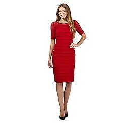 Principles by Ben de Lisi - Dark red lace yoke shutter dress