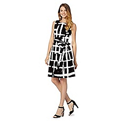 Principles by Ben de Lisi - Designer black checked belted dress