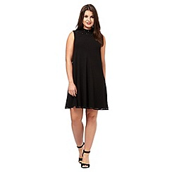 Principles Petite by Ben de Lisi - Black beaded high neck dress
