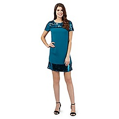 Principles Petite by Ben de Lisi - Turquoise sequinned dress