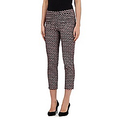 Principles by Ben de Lisi - Red geometric print cropped trousers