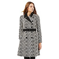 Principles by Ben de Lisi - Black geometric graphic print trench coat