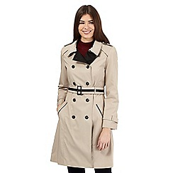 Principles by Ben de Lisi - Dark cream contrast double breasted mac coat