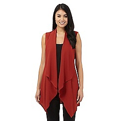Principles by Ben de Lisi - Dark red sleeveless waterfall jacket