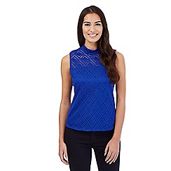 Principles Petite by Ben de Lisi - Bright blue diamond lace top