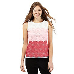 Principles by Ben de Lisi - Pink star embroidered ombre mesh shell top