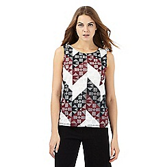 Principles by Ben de Lisi - Dark purple cut-out pattern sleeveless top