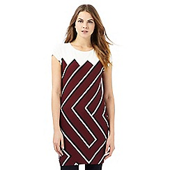 Principles by Ben de Lisi - Dark red and ivory chevron print tunic