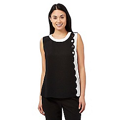 Principles by Ben de Lisi - Black scalloped button detail shell top