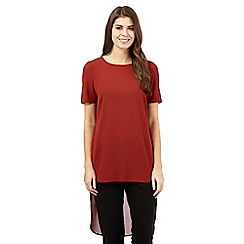 Principles by Ben de Lisi - Dark red dipped hem top