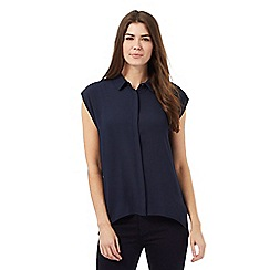 Principles by Ben de Lisi - Navy back pleated sleeveless shirt