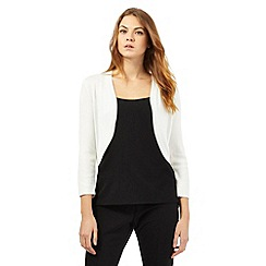 Principles by Ben de Lisi - Ivory ribbed shrug cardigan