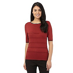 Principles Petite by Ben de Lisi - Dark red pointelle jumper
