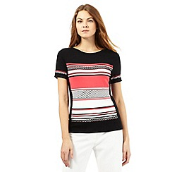 Principles by Ben de Lisi - Black textured block stripe short sleeved jumper