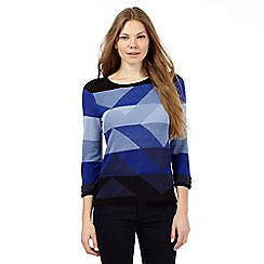Principles by Ben de Lisi - Bright blue ombre geometric block jumper