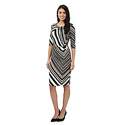 Principles Petite by Ben de Lisi - Black chevron striped dress
