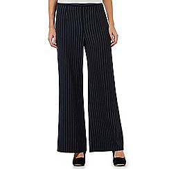Principles by Ben de Lisi - Navy textured pinstripe wide leg trousers