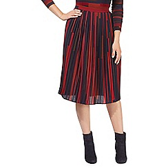 Principles by Ben de Lisi - Dark red striped print pleated skirt