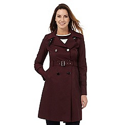 Principles Petite by Ben de Lisi - Dark red button detail midi mac coat