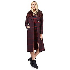 Principles by Ben de Lisi - Red checked faux fur collar coat