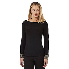 Principles by Ben de Lisi - Black long sleeve bead cuff top