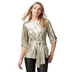 Principles by Ben de Lisi - Gold metallic kimono top