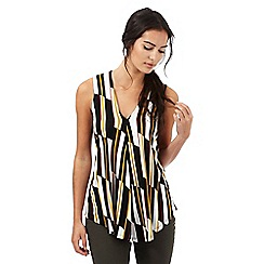 Principles by Ben de Lisi - Dark yellow graphic block print sleeveless top