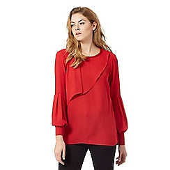 Principles by Ben de Lisi - Red button cuff ruffle top