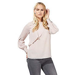 Principles Petite by Ben de Lisi - Light pink button cuff ruffle top
