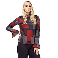 Principles by Ben de Lisi - Red patchwork print high neck top