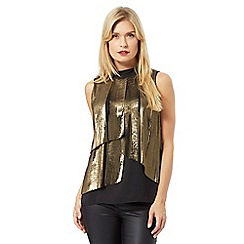 Principles Petite by Ben de Lisi - Gold sleeveless pleated top