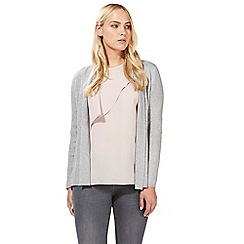 Principles by Ben de Lisi - Light grey ribbed patterned cardigan