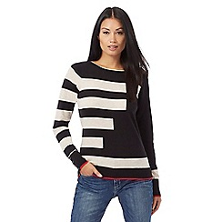 Principles Petite by Ben de Lisi - Black and cream striped print jumper