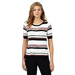 Principles Petite by Ben de Lisi - Dark orange striped ribbed jersey top