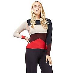 Principles by Ben de Lisi - Navy colour block rib jumper