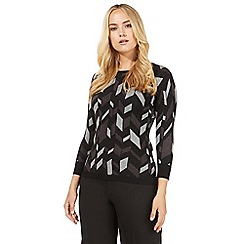 Principles Petite by Ben de Lisi - Grey chevron printed jumper