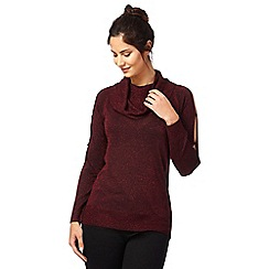 Principles Petite by Ben de Lisi - Wine sparkling cowl neck top