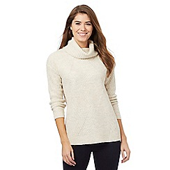 Principles Petite by Ben de Lisi - Tan ribbed roll neck jumper