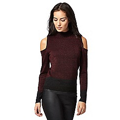 Principles by Ben de Lisi - Dark red glitter cold shoulder top