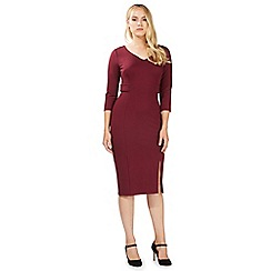 Principles Petite by Ben de Lisi - Dark red bar trim midi dress