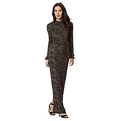 Principles Petite by Ben de Lisi - Gold glitter geometric maxi dress