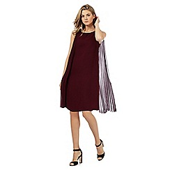 Principles by Ben de Lisi - Dark red pleated cape shift dress