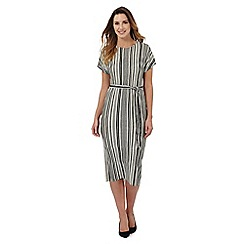 Principles Petite by Ben de Lisi - Black and white striped print midi dress