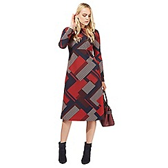 Principles by Ben de Lisi - Red brick patchwork parque print midi dress